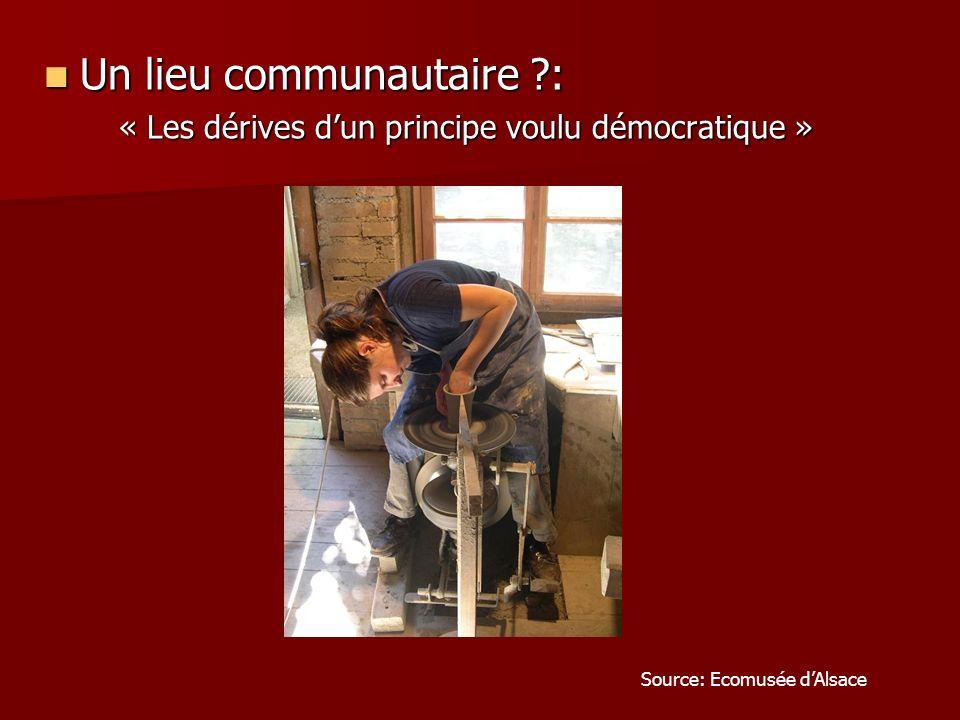 Un lieu communautaire ?: « Les dérives dun principe voulu démocratique » Source: Ecomusée dAlsace