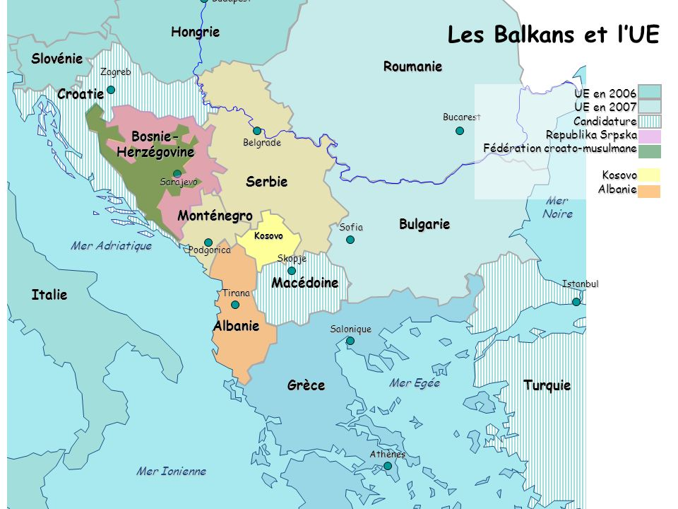 Hongrie Roumanie Bulgarie Grèce Albanie Italie Turquie Serbie Kosovo Macédoine Croatie Slovénie Salonique Belgrade Sofia Bucarest Mer Ionienne MerNoir