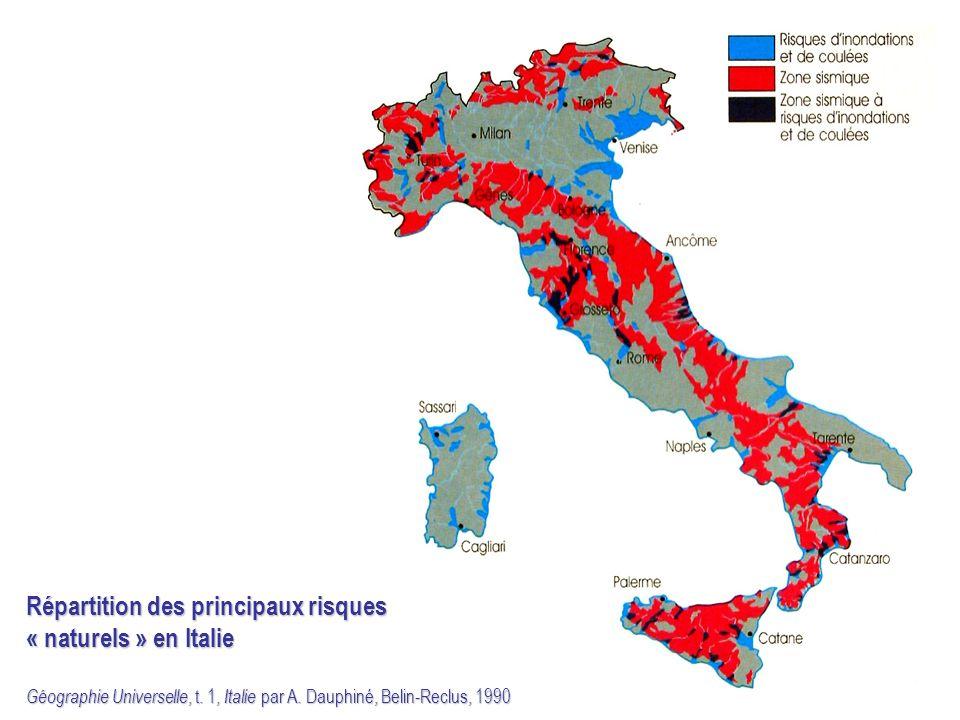 Répartition des principaux risques « naturels » en Italie Géographie Universelle, t. 1, Italie par A. Dauphiné, Belin-Reclus, 1990