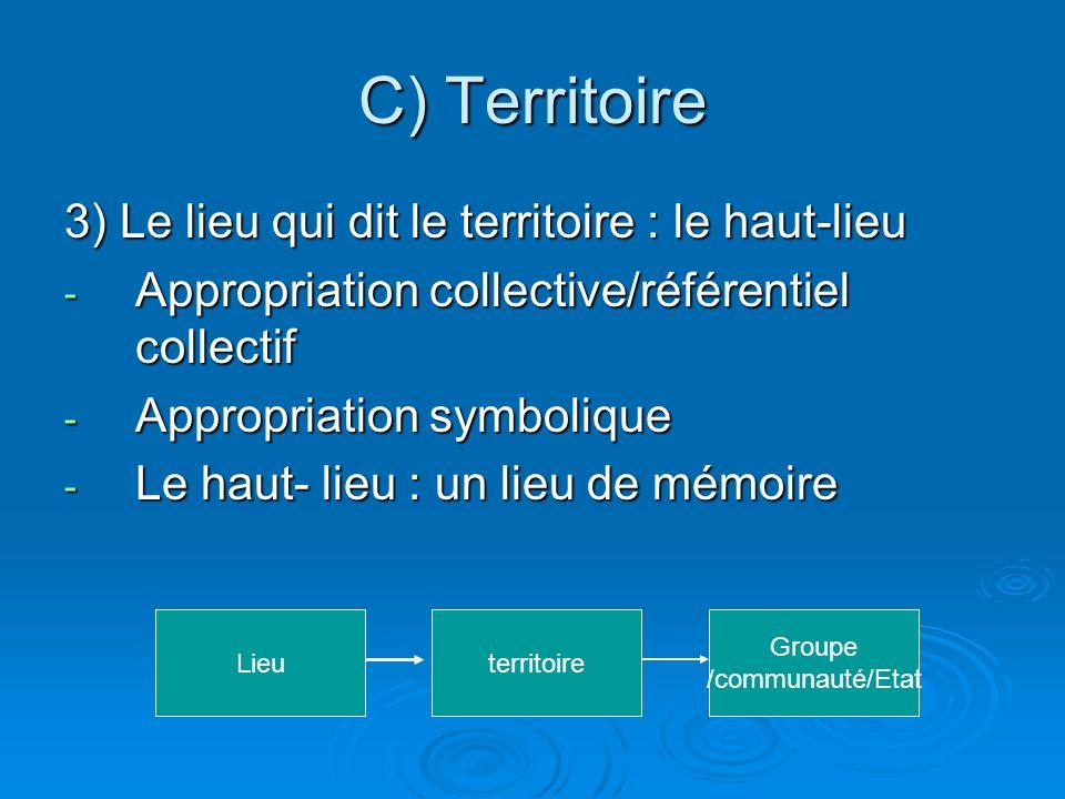 C) Territoire 3) Le lieu qui dit le territoire : le haut-lieu - Appropriation collective/référentiel collectif - Appropriation symbolique - Le haut- lieu : un lieu de mémoire Lieuterritoire Groupe /communauté/Etat