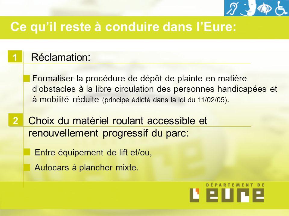 1 Réclamation : Formaliser la procédure de dépôt de plainte en matière dobstacles à la libre circulation des personnes handicapées et à mobilité réduite (principe édicté dans la loi du 11/02/05).