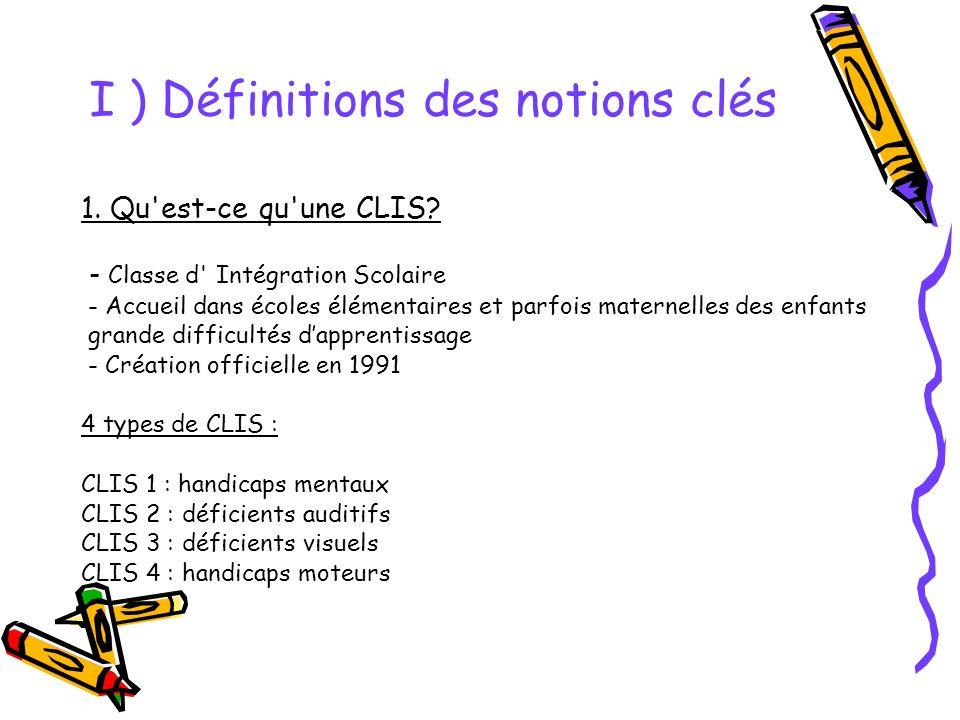 I ) Définitions des notions clés 1. Qu est-ce qu une CLIS.