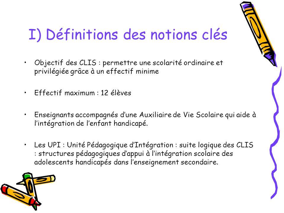 I) Définitions des notions clés Objectif des CLIS : permettre une scolarité ordinaire et privilégiée grâce à un effectif minime Effectif maximum : 12 élèves Enseignants accompagnés dune Auxiliaire de Vie Scolaire qui aide à lintégration de lenfant handicapé.
