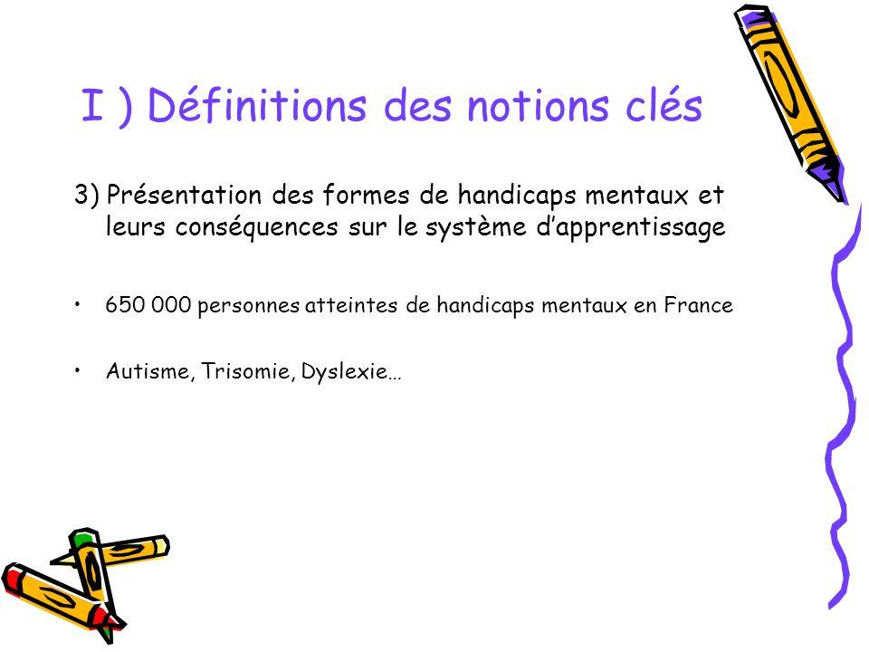I ) Définitions des notions clés 3) Présentation des formes de handicaps mentaux et leurs conséquences sur le système dapprentissage 650 000 personnes atteintes de handicaps mentaux en France Autisme, Trisomie, Dyslexie…