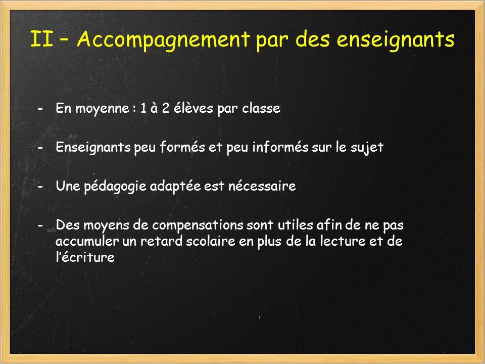 II – Accompagnement par des enseignants -En moyenne : 1 à 2 élèves par classe -Enseignants peu formés et peu informés sur le sujet -Une pédagogie adap