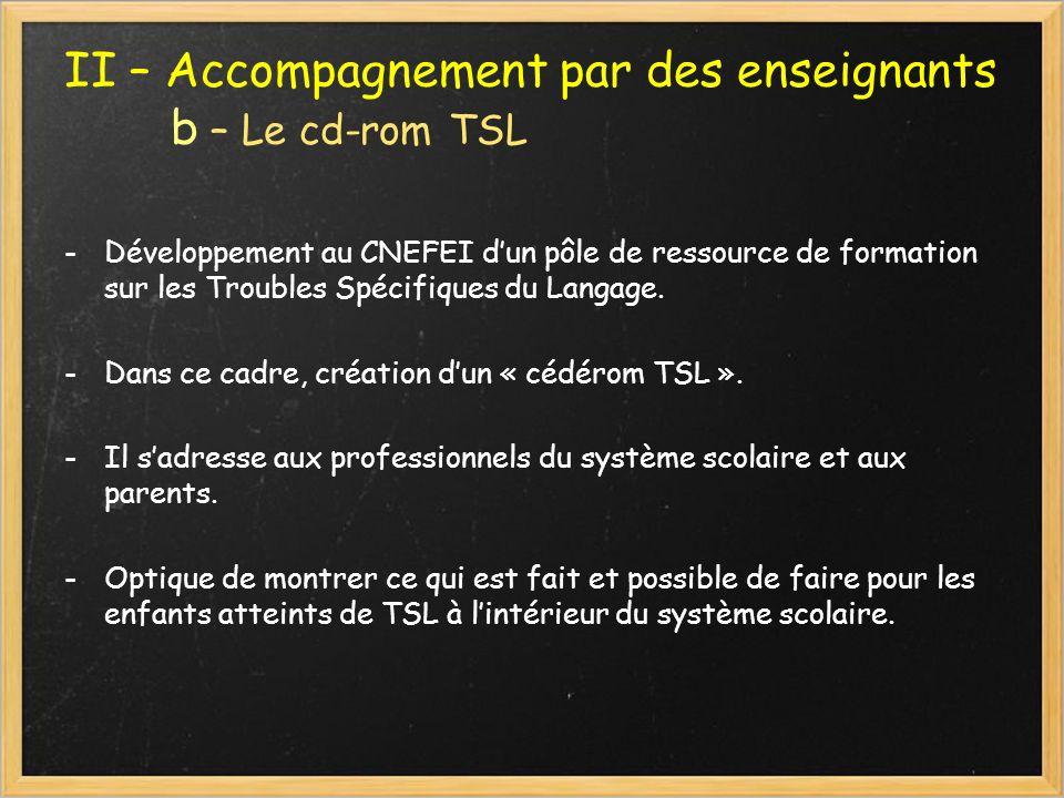 II – Accompagnement par des enseignants b – Le cd-rom TSL -Développement au CNEFEI dun pôle de ressource de formation sur les Troubles Spécifiques du