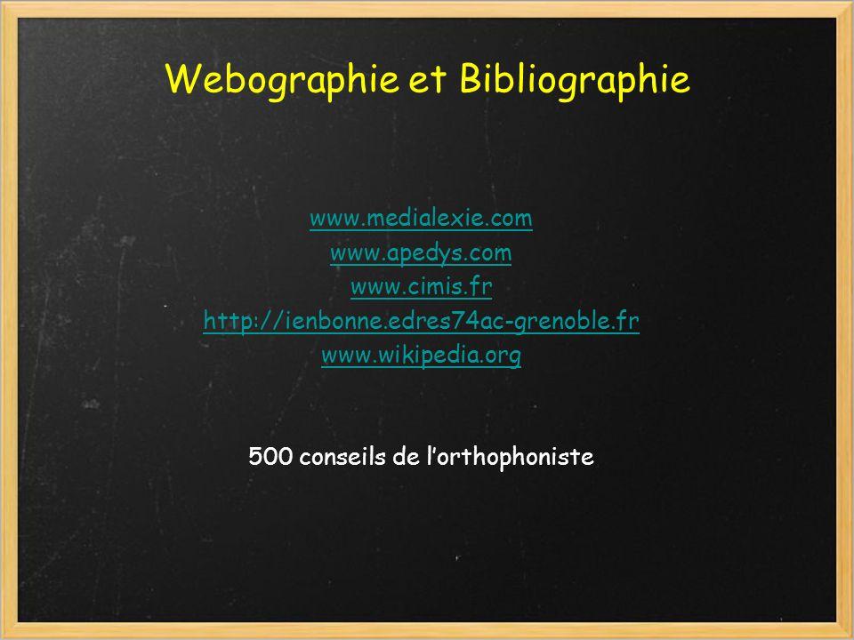 Webographie et Bibliographie www.medialexie.com www.apedys.com www.cimis.fr http://ienbonne.edres74ac-grenoble.fr www.wikipedia.org 500 conseils de lo