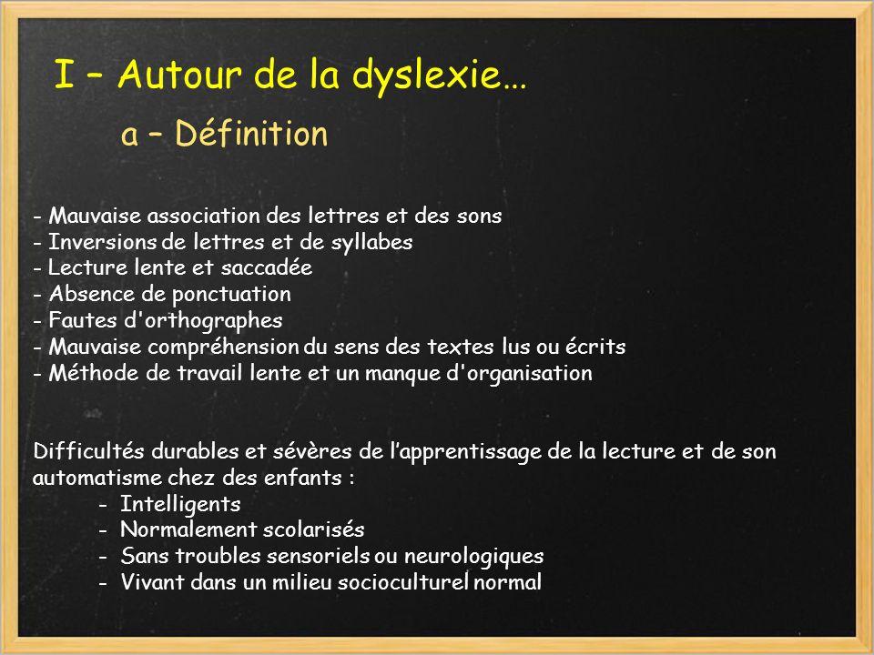 I – Autour de la dyslexie… a – Définition - Mauvaise association des lettres et des sons - Inversions de lettres et de syllabes - Lecture lente et sac