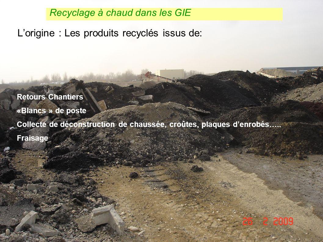 12 Dimensionnement et choix des techniques denrobés COTITA 12 mars 2009 Lorigine : Les produits recyclés issus de: Retours Chantiers «Blancs » de post