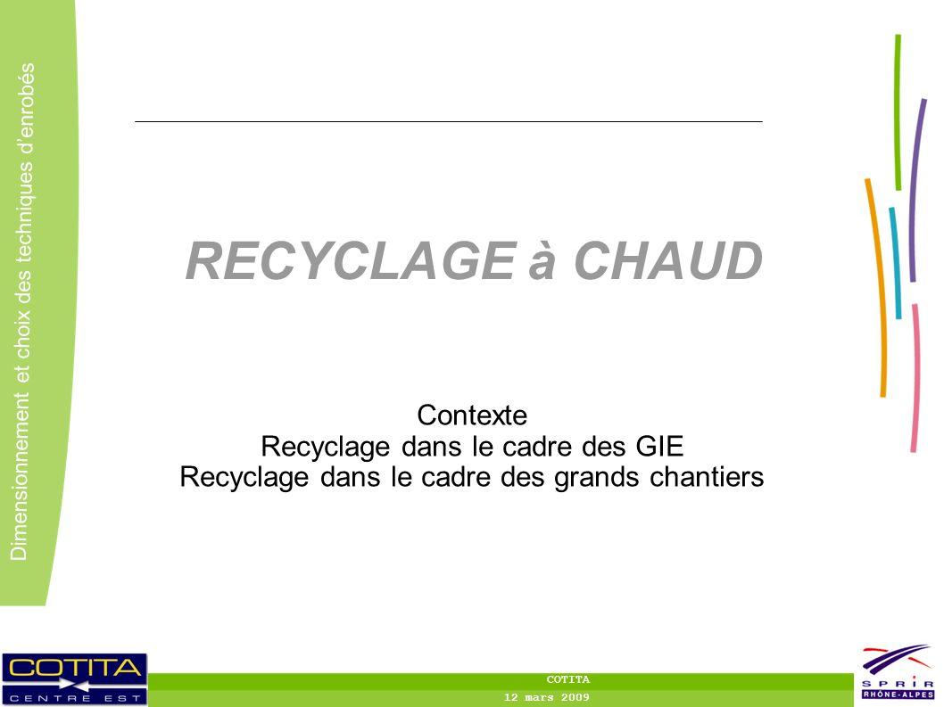 2 2 Dimensionnement et choix des techniques denrobés COTITA 12 mars 2009 RECYCLAGE à CHAUD Contexte Recyclage dans le cadre des GIE Recyclage dans le