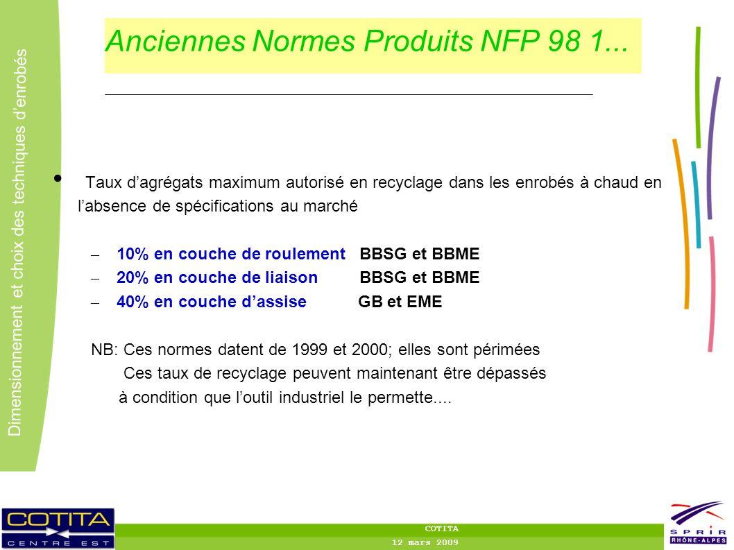 5 5 Dimensionnement et choix des techniques denrobés COTITA 12 mars 2009 Anciennes Normes Produits NFP 98 1... Taux dagrégats maximum autorisé en recy