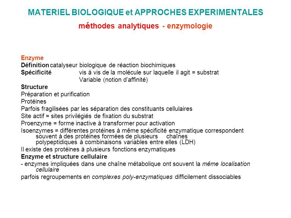 MATERIEL BIOLOGIQUE et APPROCHES EXPERIMENTALES m é thodes analytiques - enzymologie Enzyme Définitioncatalyseur biologique de réaction biochimiques S