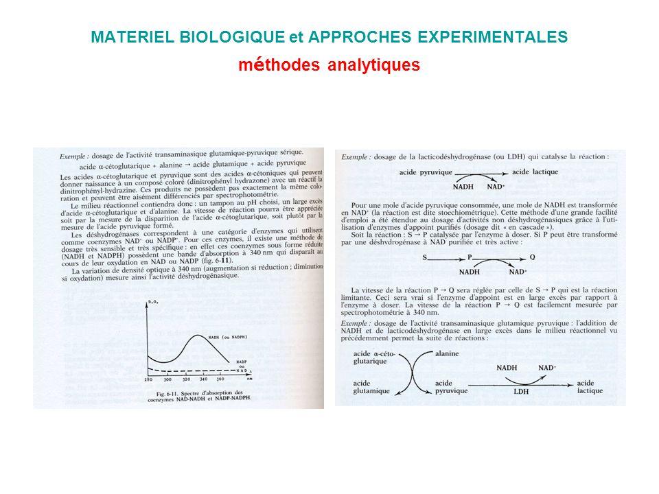 MATERIEL BIOLOGIQUE et APPROCHES EXPERIMENTALES m é thodes analytiques