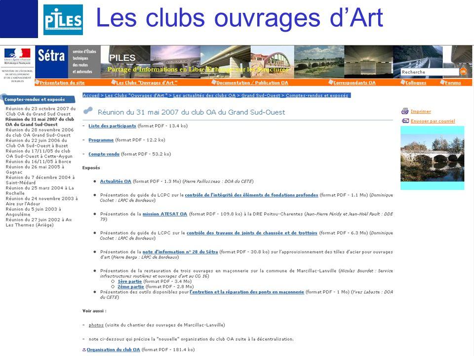 11 octobre 2007 COTITA 14 Les clubs ouvrages dArt