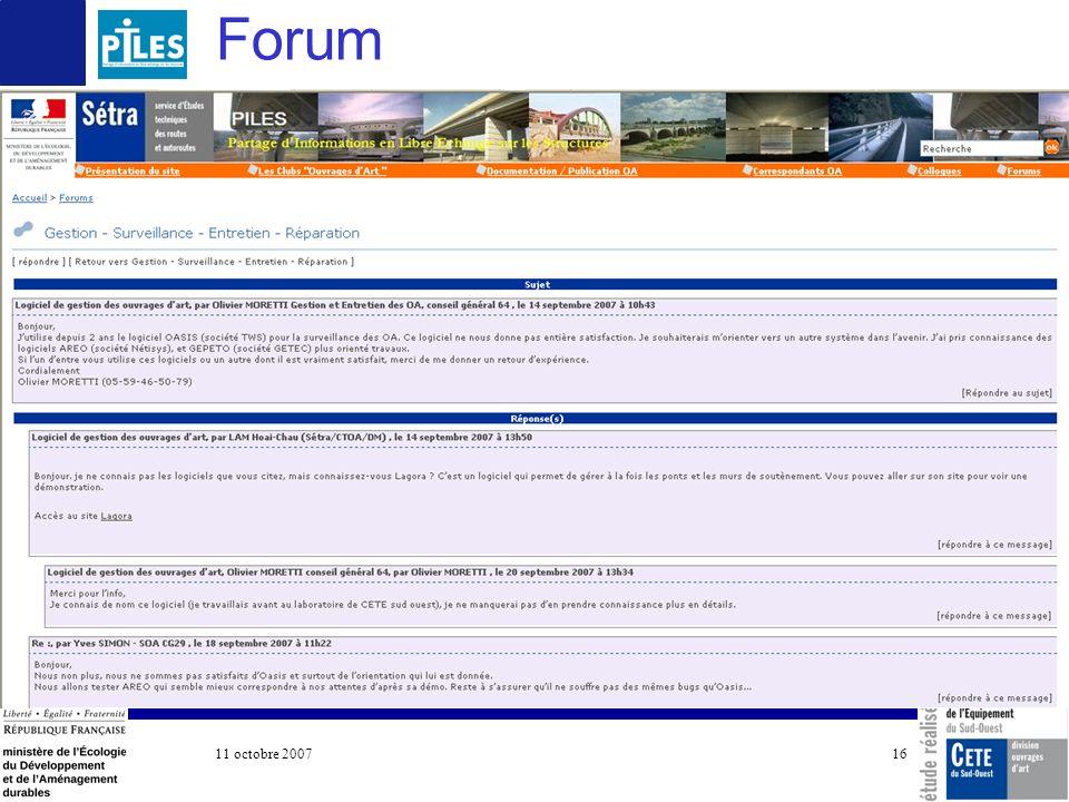11 octobre 2007 COTITA 16 Forum
