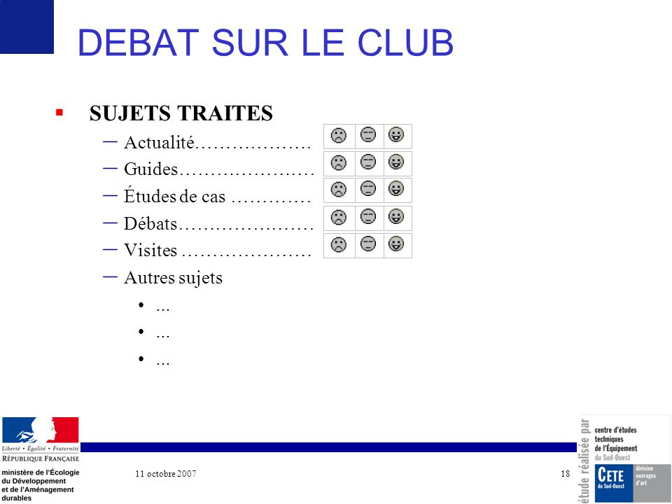 11 octobre 2007 COTITA 18 DEBAT SUR LE CLUB SUJETS TRAITES – Actualité……………………………… – Guides……………………………….