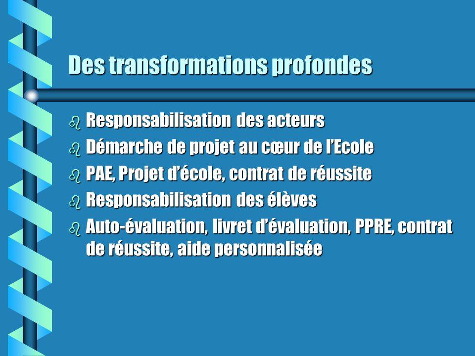 Des transformations profondes b Responsabilisation des acteurs b Démarche de projet au cœur de lEcole b PAE, Projet décole, contrat de réussite b Responsabilisation des élèves b Auto-évaluation, livret dévaluation, PPRE, contrat de réussite, aide personnalisée