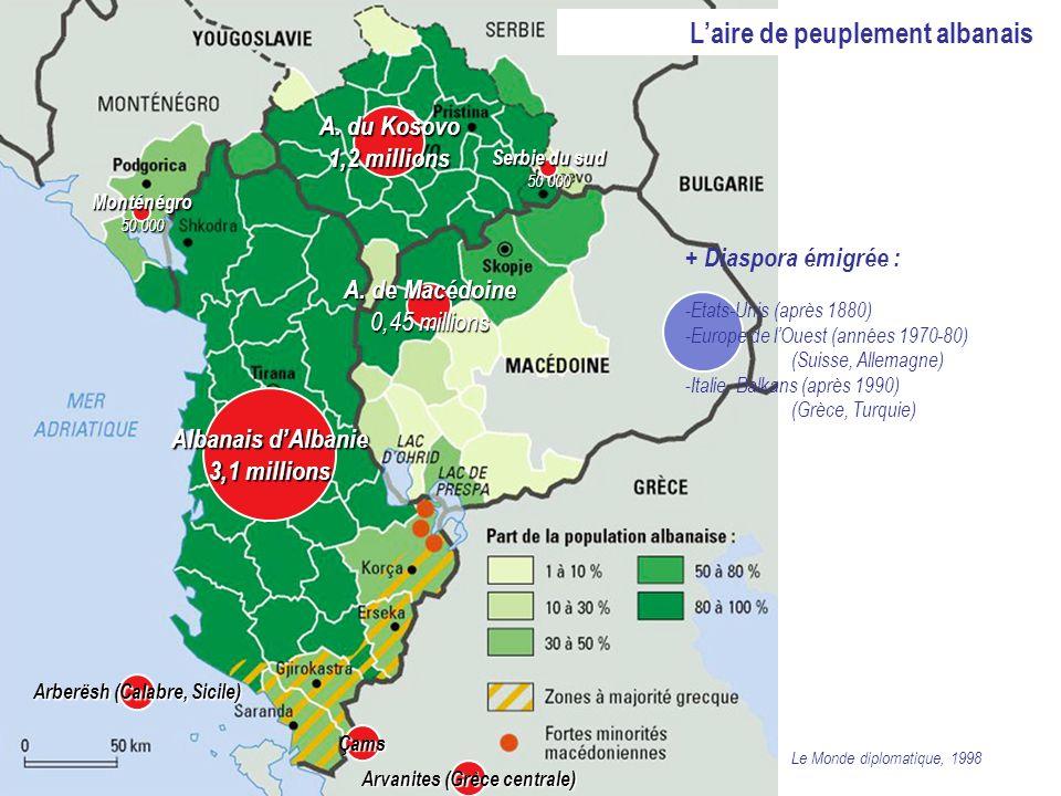 Laire de peuplement albanais Albanais dAlbanie 3,1 millions A. du Kosovo 1,2 millions A. de Macédoine 0,45 millions Serbie du sud 50 000 Monténégro50