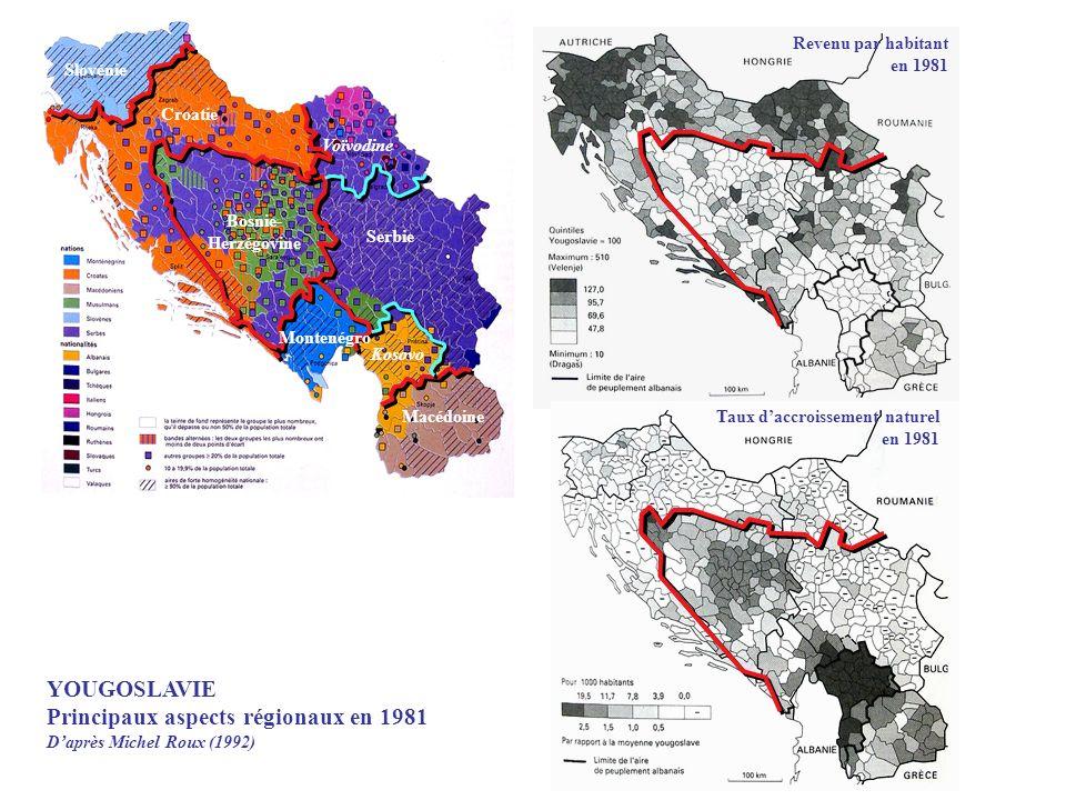 Revenu par habitant en 1981 Taux daccroissement naturel en 1981 YOUGOSLAVIE Principaux aspects régionaux en 1981 Daprès Michel Roux (1992) Slovénie Cr