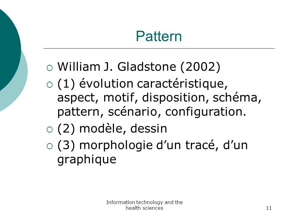 Information technology and the health sciences11 Pattern William J. Gladstone (2002) (1) évolution caractéristique, aspect, motif, disposition, schéma