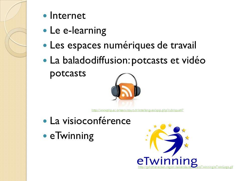 Internet Le e-learning Les espaces numériques de travail La baladodiffusion: potcasts et vidéo potcasts http://wwwphp.ac-orleans-tours.fr/interlangues