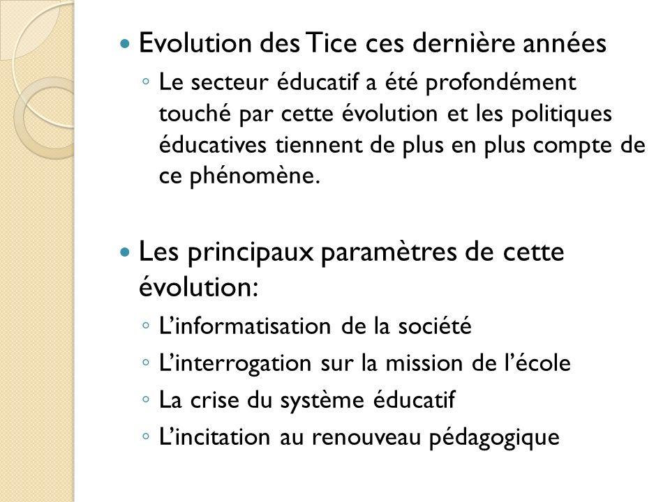 Evolution des Tice ces dernière années Le secteur éducatif a été profondément touché par cette évolution et les politiques éducatives tiennent de plus