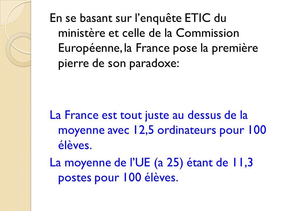 En se basant sur lenquête ETIC du ministère et celle de la Commission Européenne, la France pose la première pierre de son paradoxe: La France est tou
