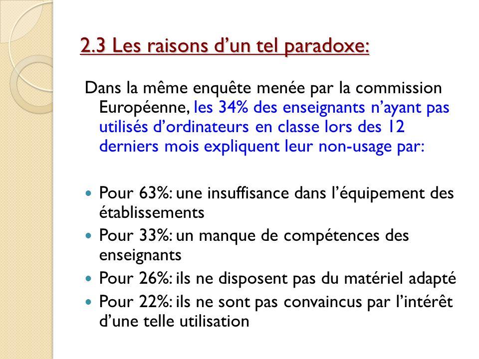 2.3 Les raisons dun tel paradoxe: Dans la même enquête menée par la commission Européenne, les 34% des enseignants nayant pas utilisés dordinateurs en