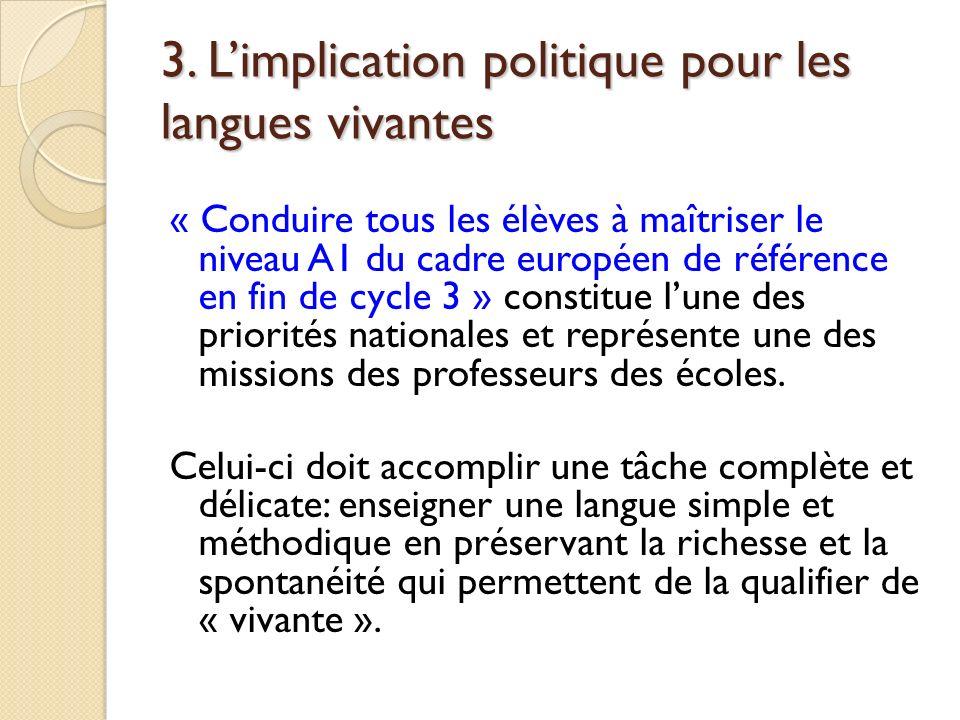 3. Limplication politique pour les langues vivantes « Conduire tous les élèves à maîtriser le niveau A1 du cadre européen de référence en fin de cycle