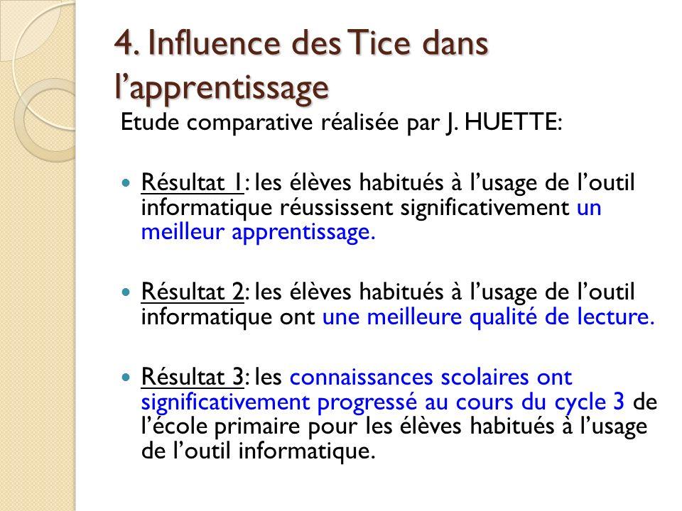 4. Influence des Tice dans lapprentissage Etude comparative réalisée par J. HUETTE: Résultat 1: les élèves habitués à lusage de loutil informatique ré