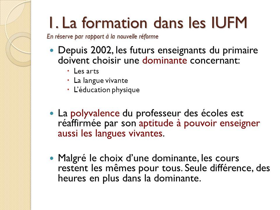 1. La formation dans les IUFM En réserve par rapport à la nouvelle réforme Depuis 2002, les futurs enseignants du primaire doivent choisir une dominan