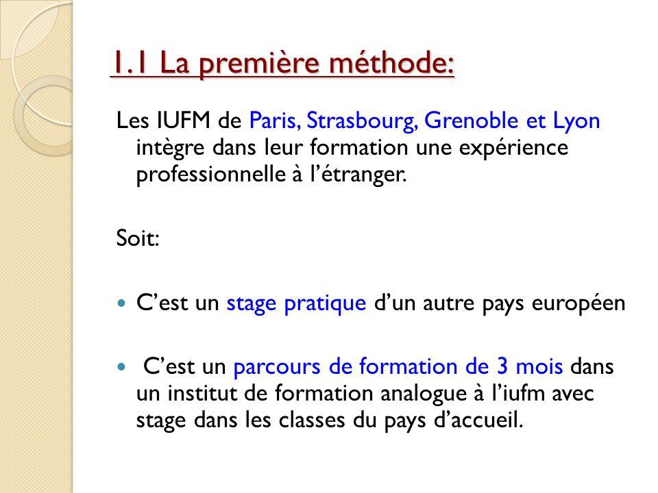 1.1 La première méthode: Les IUFM de Paris, Strasbourg, Grenoble et Lyon intègre dans leur formation une expérience professionnelle à létranger. Soit: