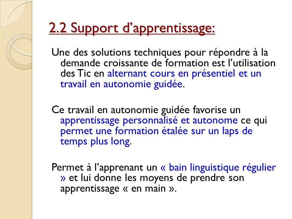 2.2 Support dapprentissage: Une des solutions techniques pour répondre à la demande croissante de formation est lutilisation des Tic en alternant cour