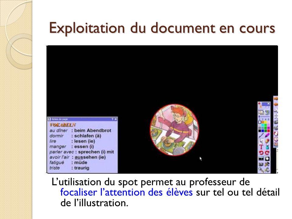 Exploitation du document en cours Lutilisation du spot permet au professeur de focaliser lattention des élèves sur tel ou tel détail de lillustration.
