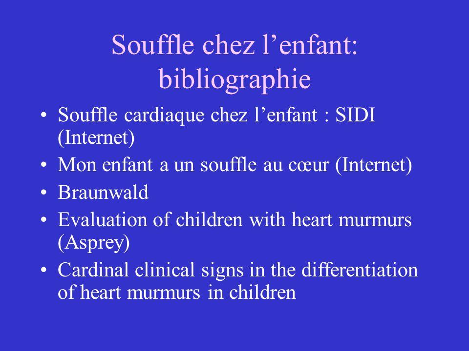Caractéristiques dun souffle Moment où le souffle est entendu: systole, diastole, place dans la systole Foyer principal=localisation –Apex: mitrale –Xiphoïde:tricuspide –Long du sternum: 2EICD: aorte –2EICG:AP Irradiations:direction du flux –Voie pulmonaire:dos et aisselles –CIV en rayons de roue –IM: apex –IT: augmentent à linspiration intensité