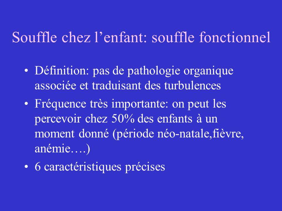 Souffle chez lenfant: souffle fonctionnel Définition: pas de pathologie organique associée et traduisant des turbulences Fréquence très importante: on