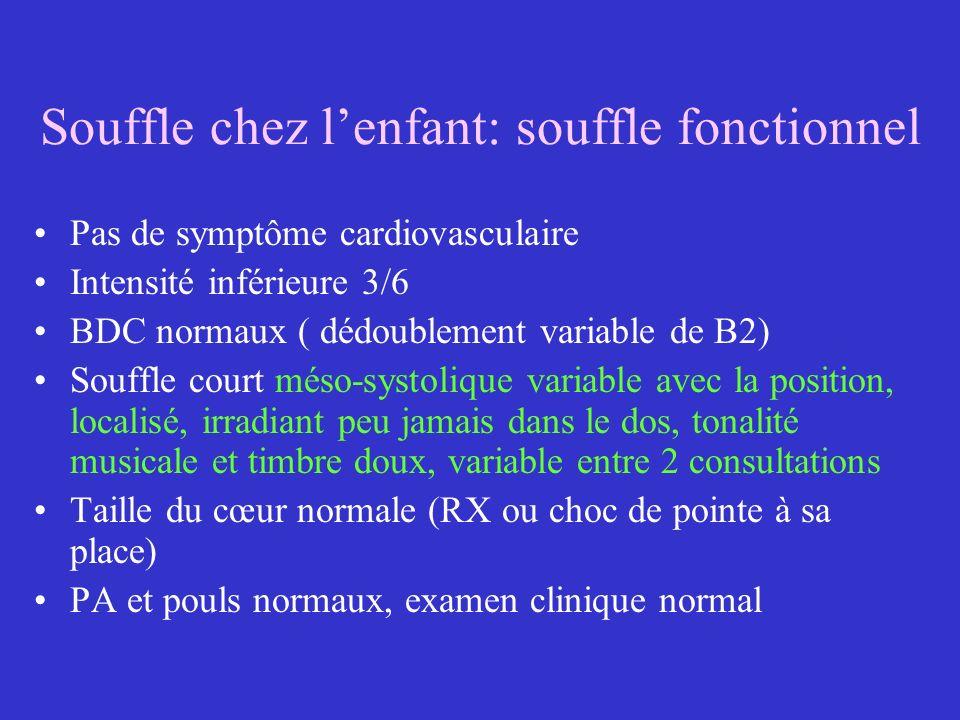 Souffle chez lenfant: souffle fonctionnel Pas de symptôme cardiovasculaire Intensité inférieure 3/6 BDC normaux ( dédoublement variable de B2) Souffle