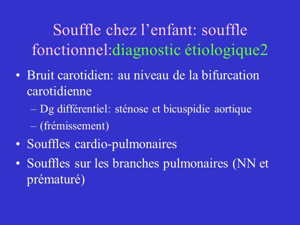 Souffle chez lenfant: souffle fonctionnel:diagnostic étiologique2 Bruit carotidien: au niveau de la bifurcation carotidienne –Dg différentiel: sténose