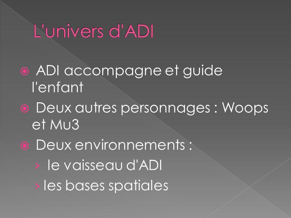 ADI accompagne et guide l enfant Deux autres personnages : Woops et Mu3 Deux environnements : le vaisseau d ADI les bases spatiales