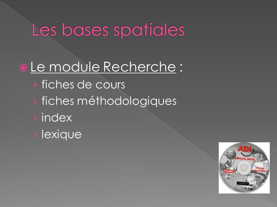 Le module Recherche : fiches de cours fiches méthodologiques index lexique