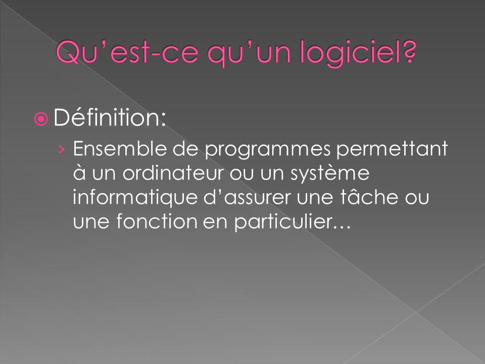 Définition: Ensemble de programmes permettant à un ordinateur ou un système informatique dassurer une tâche ou une fonction en particulier…