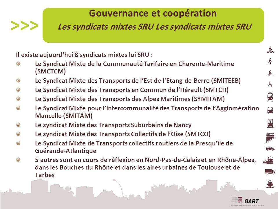 Il existe aujourdhui 8 syndicats mixtes loi SRU : Le Syndicat Mixte de la Communauté Tarifaire en Charente-Maritime (SMCTCM) Le Syndicat Mixte des Transports de lEst de lEtang-de-Berre (SMITEEB) Le Syndicat Mixte des Transports en Commun de lHérault (SMTCH) Le Syndicat Mixte des Transports des Alpes Maritimes (SYMITAM) Le Syndicat Mixte pour lIntercommunalité des Transports de lAgglomération Mancelle (SMITAM) Le syndicat Mixte des Transports Suburbains de Nancy Le syndicat Mixte des Transports Collectifs de lOise (SMTCO) Le Syndicat Mixte de Transports collectifs routiers de la Presquîle de Guérande-Atlantique 5 autres sont en cours de réflexion en Nord-Pas-de-Calais et en Rhône-Alpes, dans les Bouches du Rhône et dans les aires urbaines de Toulouse et de Tarbes Gouvernance et coopération Les syndicats mixtes SRU Les syndicats mixtes SRU