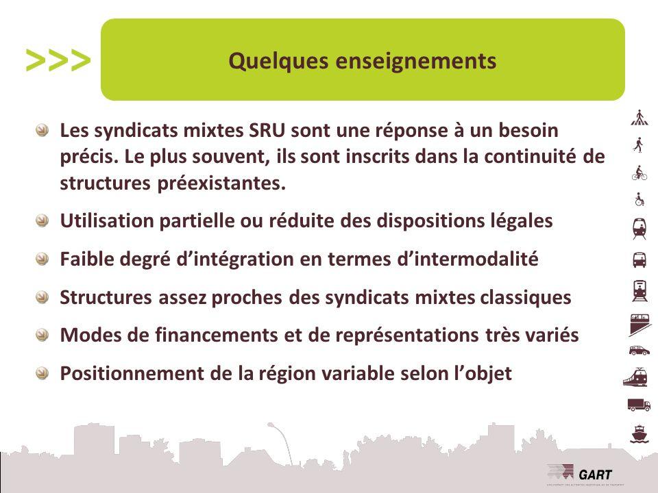Quelques enseignements Les syndicats mixtes SRU sont une réponse à un besoin précis.