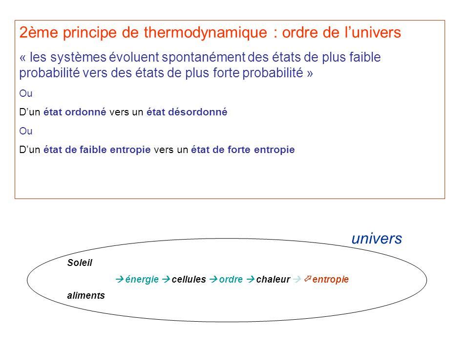 2ème principe de thermodynamique : ordre de lunivers « les systèmes évoluent spontanément des états de plus faible probabilité vers des états de plus