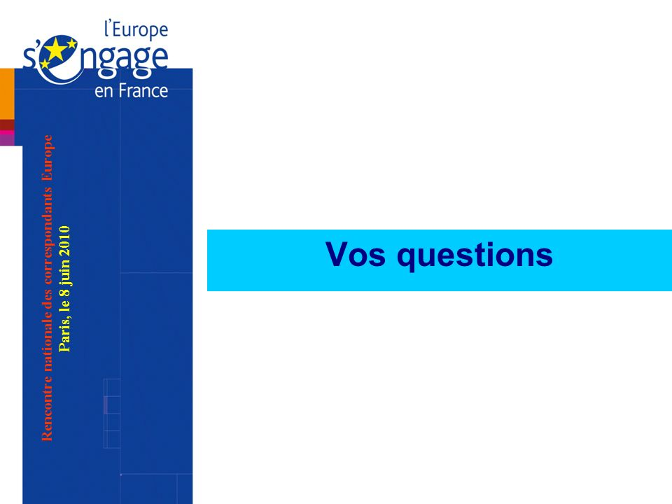 Rencontre nationale des correspondants Europe Paris, le 8 juin 2010 Vos questions
