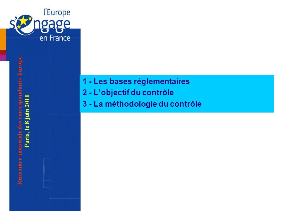 1 - Les bases réglementaires 2 - Lobjectif du contrôle 3 - La méthodologie du contrôle Rencontre nationale des correspondants Europe Paris, le 8 juin 2010