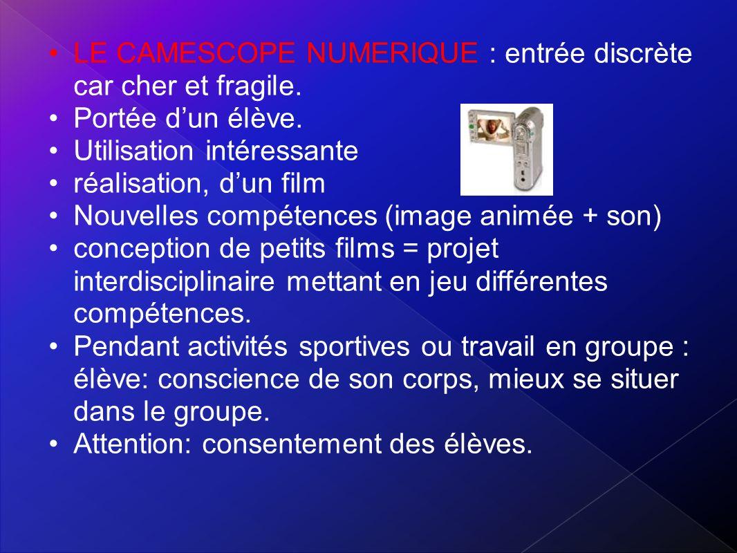 L IMPRIMANTE : Production (roman photo) LE VIDEOPROJECTEUR : projeter images ou des séquences animées.