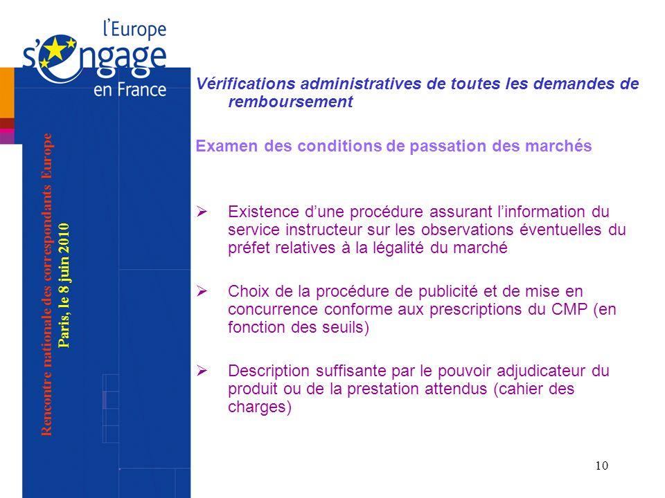 10 Vérifications administratives de toutes les demandes de remboursement Examen des conditions de passation des marchés Existence dune procédure assur