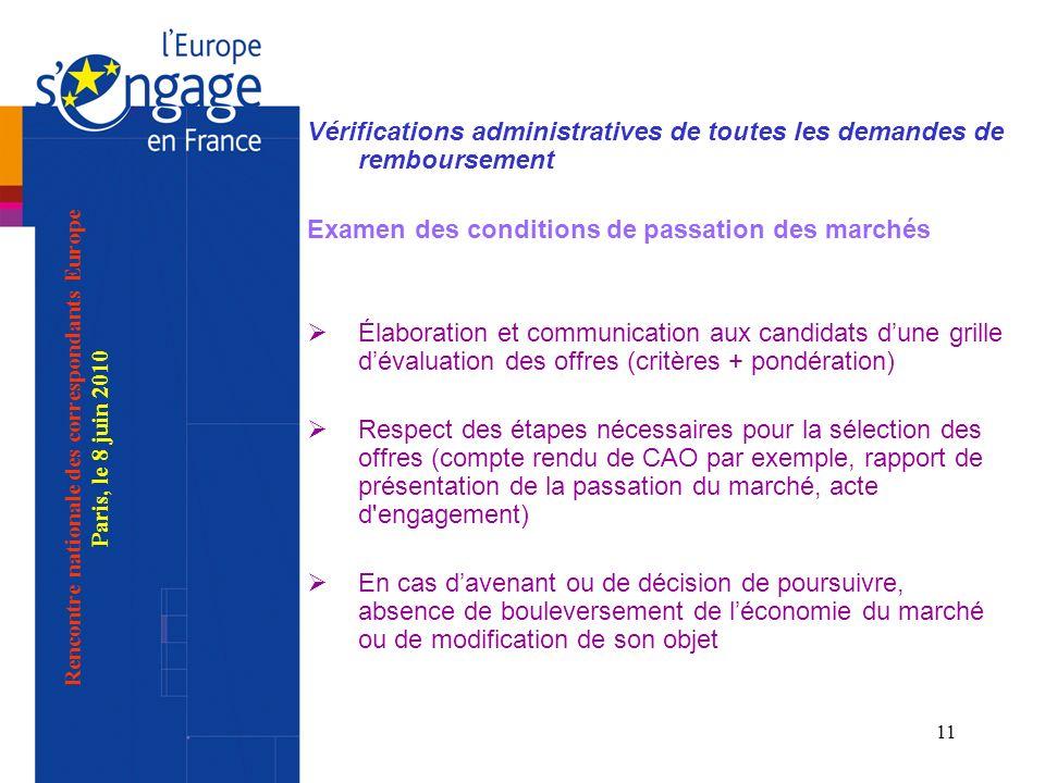 11 Vérifications administratives de toutes les demandes de remboursement Examen des conditions de passation des marchés Élaboration et communication a