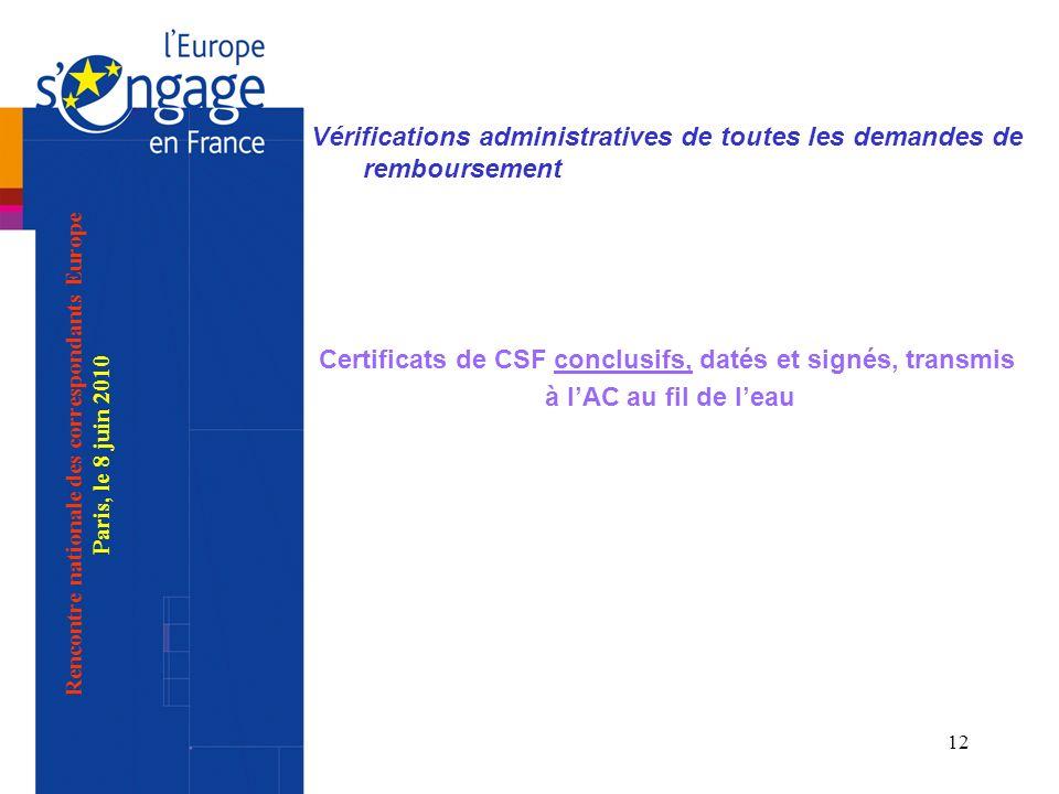 12 Vérifications administratives de toutes les demandes de remboursement Certificats de CSF conclusifs, datés et signés, transmis à lAC au fil de leau